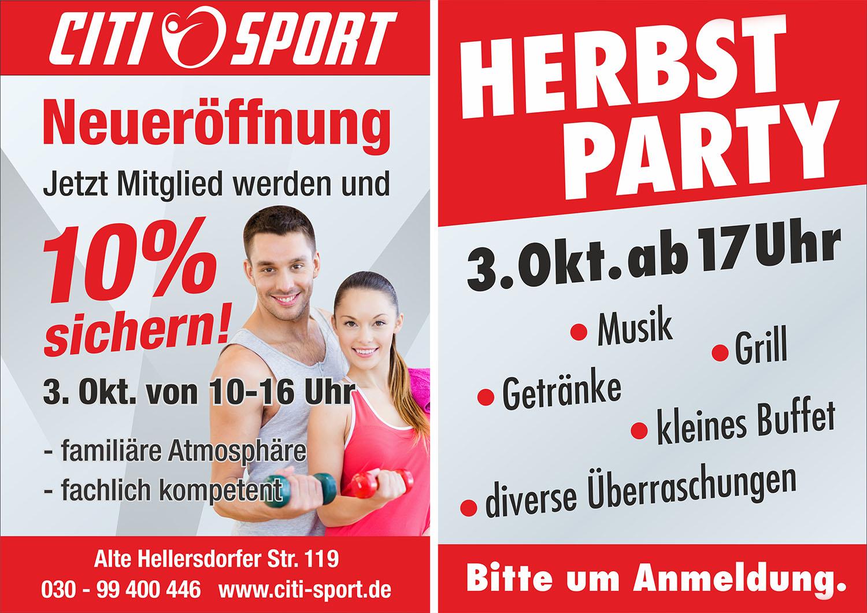 Citi-Sport Flyer Neueröffnung und Herbst Party 2020